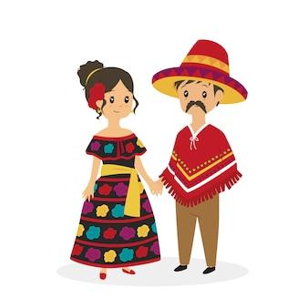 伝統的な服でかわいいメキシコのカップル、漫画