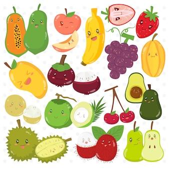 Набор забавных фруктов героев мультфильмов векторная коллекция