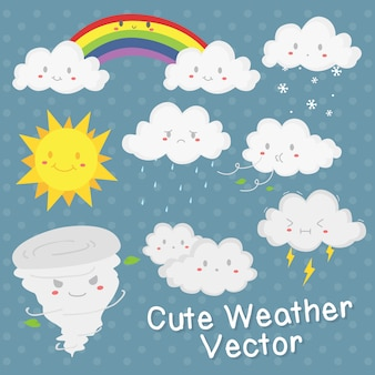 かわいい天気ベクトルのデザイン