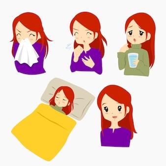 女性、インフルエンザ、病気、ベクトル、セット