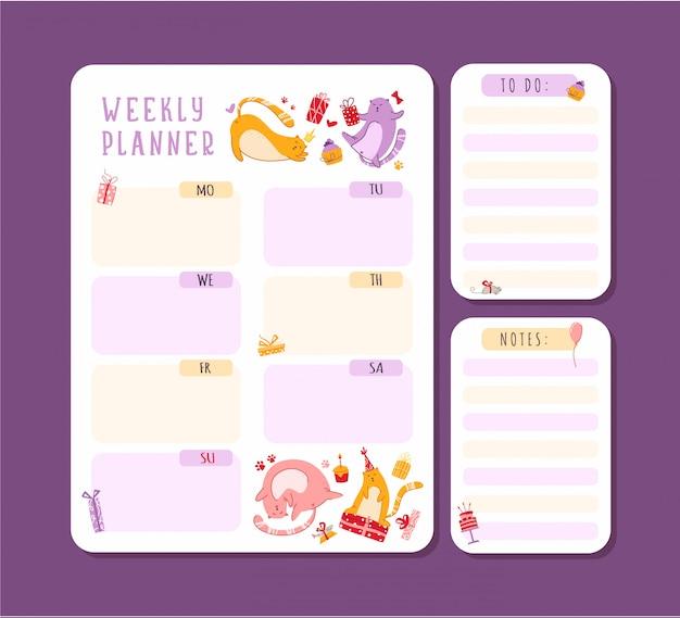 猫は毎週または毎日のプランナーのメモとやることリスト付きで誕生日を迎えます。個人用文房具オーガナイザー