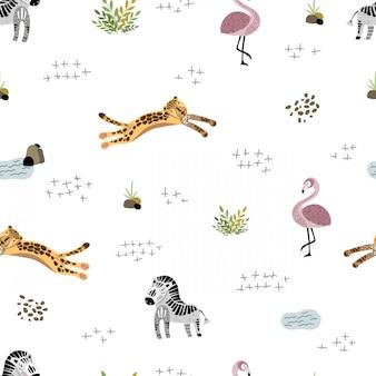 アフリカの動物とのシームレスなパターンベクトル
