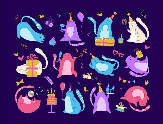 Празднование дня рождения котов - забавный неоновый котенок в праздничной шапке, подарочные коробки, праздничный торт и напитки