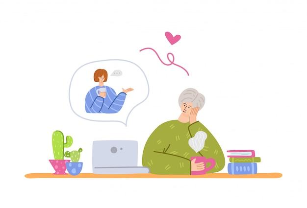 高齢者とオンラインコミュニケーション-若い大人の女の子が祖父母に電話をかける、オンラインチャットとビデオ通話