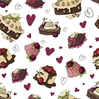 ケーキのシームレスなパターンベクトル