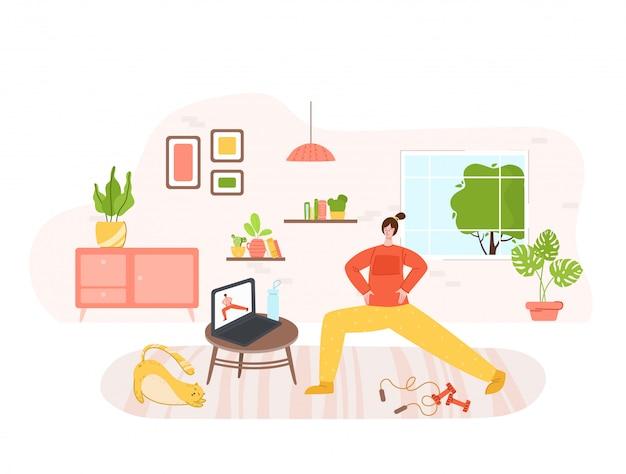 Девушка занимается спортом на дому - онлайн тренировка или тренировка