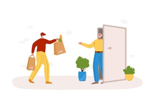 安全な配達のコンセプト-製品または小包の自宅への玄関先への配達、シニーア向けのエクスプレス宅配便