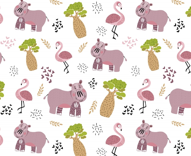かわいいアフリカの動物とのシームレスなパターンベクトル