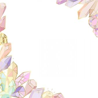 Угловая рамка из кристаллов, драгоценных камней