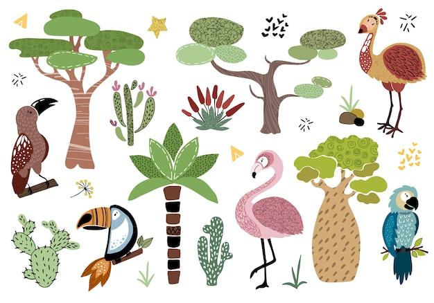 Векторный набор африканских деревьев