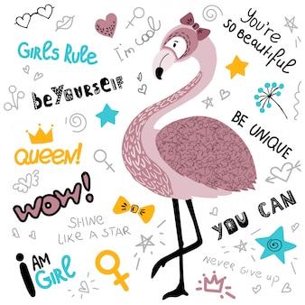 ピンクのフラミンゴの女性とポスター