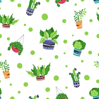 漫画家の鉢植えの植物とのシームレスなパターン