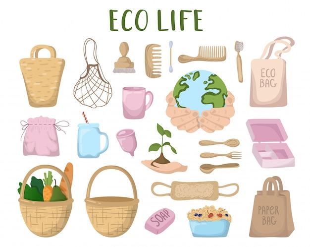エコロジーコンセプト - エコバッグ、カトラリー、もの