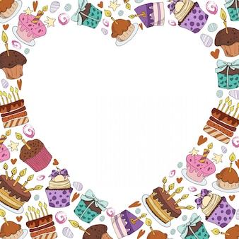 お菓子、砂漠、ケーキ、漫画の食べ物のベクトルフレーム