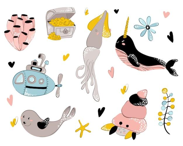Вектор морское животное, подводный мир