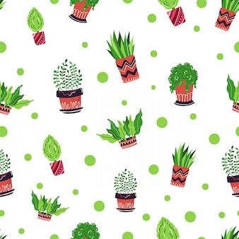 シームレスパターン - 漫画家の鉢植えの植物