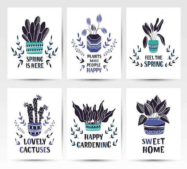 家の鉢植えの植物や花と漫画のカードのセット