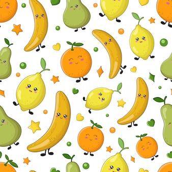 シームレスなベクターパターン - レモン、オレンジ、バナナ