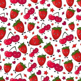 Бесшовные вектор - ягода - вишня, клубника