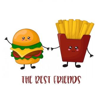 漫画かわいいファーストフード - ハンバーガーとフライドポテト