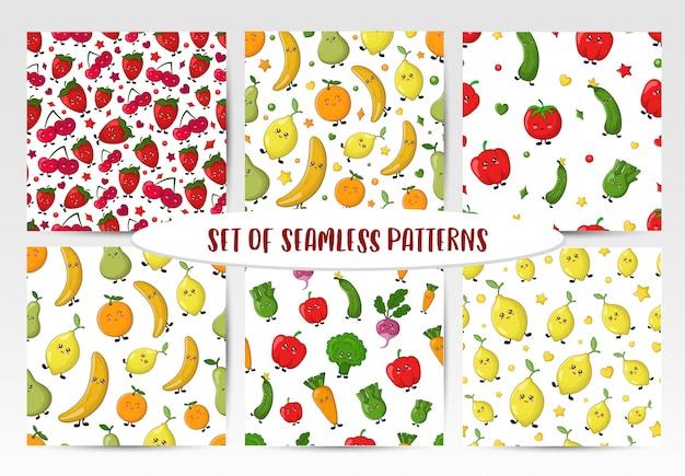 Набор бесшовных паттернов с каваи овощами, фруктами и ягодами