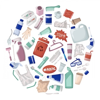 Векторный набор - пластиковый мусор и отходы или мусор, переработка пластмасс