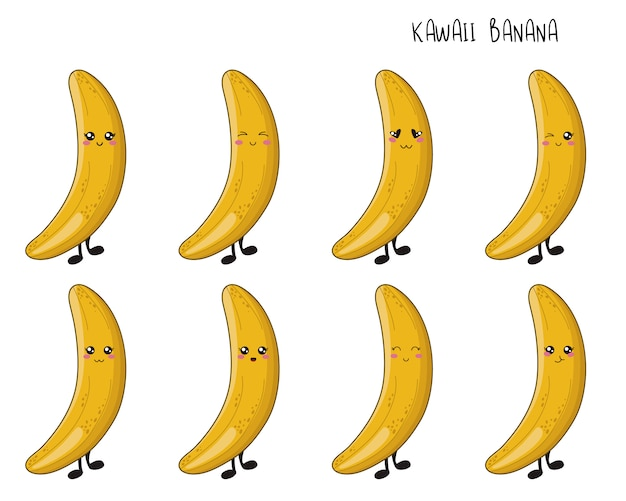 かわいいフルーツ - 異なる絵文字とバナナのセット。孤立した要素