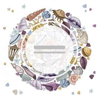 貝殻の手描き丸枠