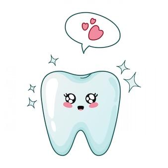 吹き出しとうれしそうな輝くかわいい歯