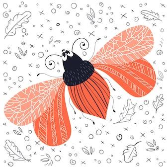 ベクトルかわいい漫画の赤虫やカブトムシ、フラット