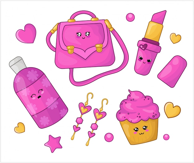 漫画セットかわいいピンクの化粧品と女の子のファッションアクセサリー