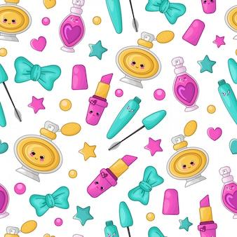 かわいい化粧品と漫画のシームレスパターン