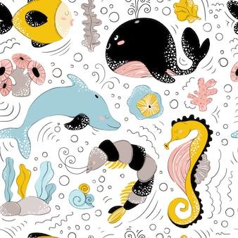 海の動物のシームレスパターン