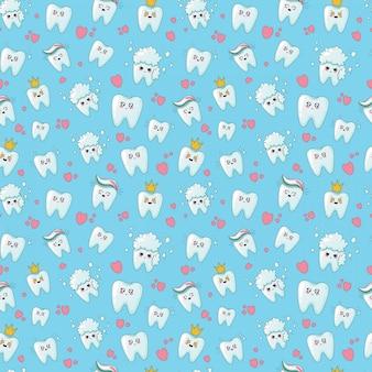 かわいい歯科医療のシームレスパターン