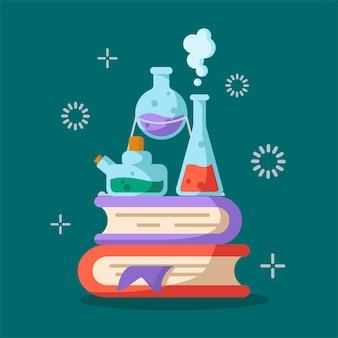 Набор лабораторных колб, мерного стакана и пробирок для диагностики, анализа, научного эксперимента