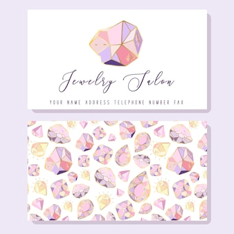 宝石店の名刺テンプレート-ゴールデンダイヤモンド、クリスタルまたは宝石