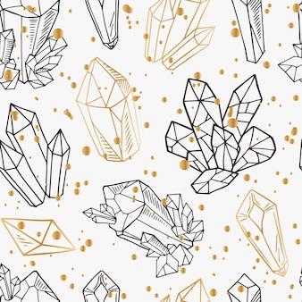シームレスパターン-黒と金色の輪郭結晶または宝石