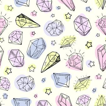シームレスパターン-結晶または宝石、宝石、ダイヤモンド、手描きの無限のテクスチャ