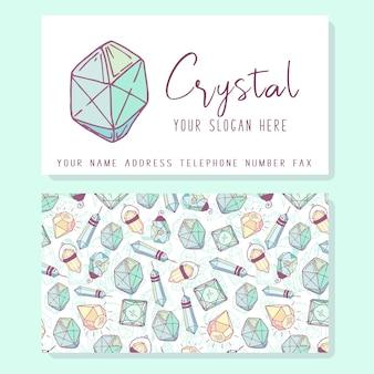 ビジネスアイデンティティ、ロゴ-ターコイズダイヤモンドまたはクリスタルの名刺テンプレート