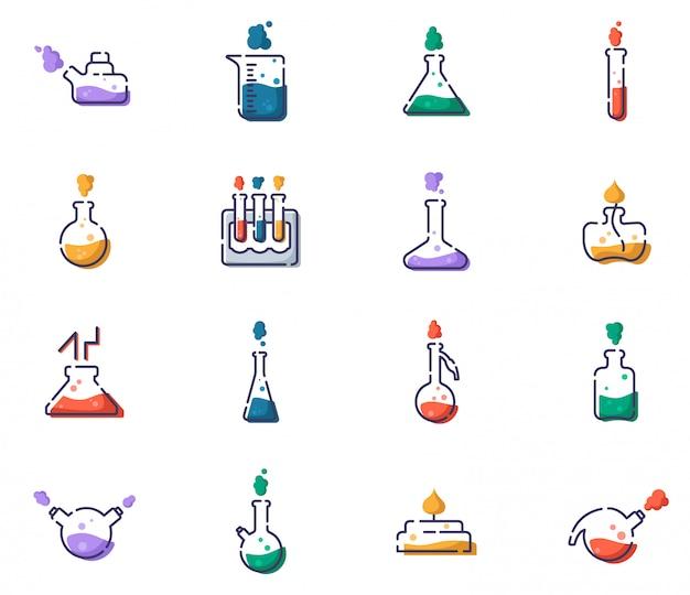 Набор набросков заполнены иконы - лабораторные колбы, мерный стаканчик и пробирки для диагностики, анализа, научного эксперимента. химическая лаборатория и оборудование.