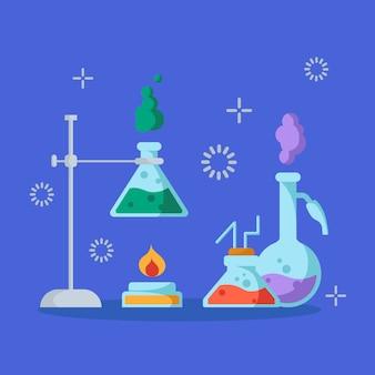 Химическая лаборатория и оборудование для эксперимента. наука и концепция образования. стеклянные колбы и пробирки