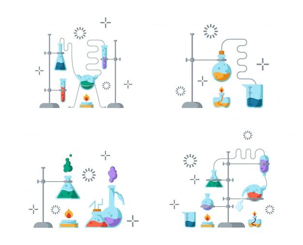 実験のための化学実験室と設備。科学と教育のコンセプト。ガラスフラスコと試験管