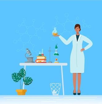 化学または医学研究室で平らな女性キャラクター、女性医師または研究室の科学者