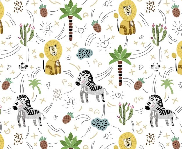白地にかわいいアフリカの動物とシームレスなパターンベクトル