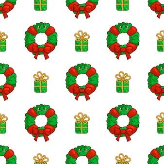 花輪とギフトボックス、無限のテクスチャとかわいいクリスマスのシームレスパターン