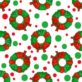 クリスマスの花輪、背景、繊維の無限のテクスチャとのシームレスなパターン