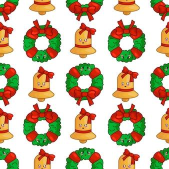 クリスマスの花輪、黄金の鐘、テキスタイルの無限のテクスチャとのシームレスなパターン
