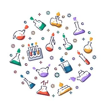 Набор набросков, заполненных значками лабораторных колб, пробирок для диагностики, научного эксперимента