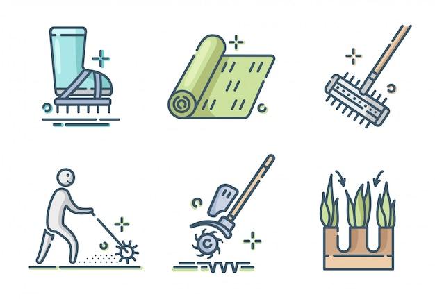 芝生の手入れと通気の色のアイコンセット、芝生の草サービス、ガーデニング、景観設備