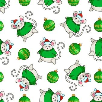 Рождественский бесшовный фон с каваи толстой мышью в свитере